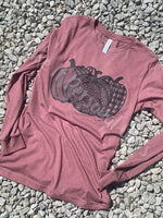 Mauve Pumpkin Trio Short Sleeve or Long Sleeve Tee