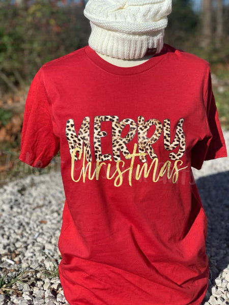 Merry Christmas Leopard Short Sleeve,  Long Sleeve or Sweatshirt