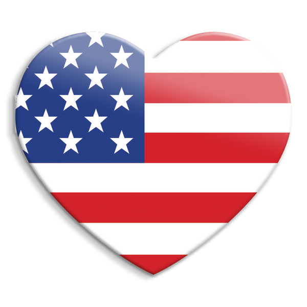 USA Heart Acrylic Interchangeable Button