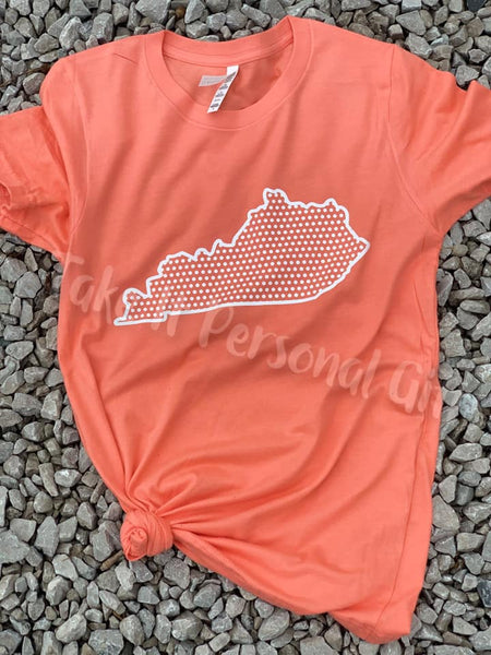Coral Polka Dot Kentucky Bella + Canvas T-shirt