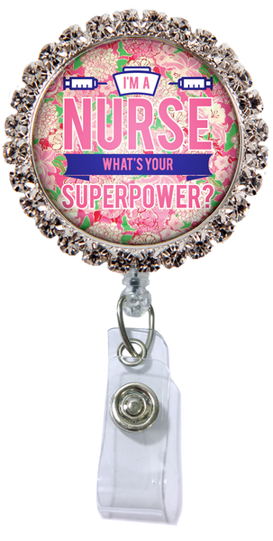 Nurse Superpower Glam Retractable Badge Reel  - Rhinestones ATTACHED to badge reel (Non-Interchangeable)