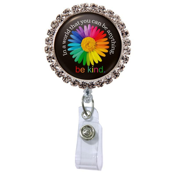 Be Kind Glam Retractable Badge Reel  - Rhinestones ATTACHED to badge reel (Non-Interchangeable)
