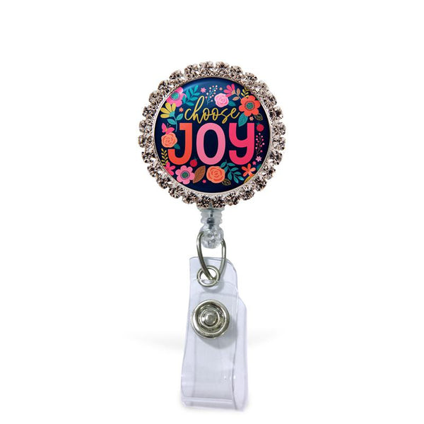 Choose Joy Glam Retractable Badge Reel  - Rhinestones ATTACHED to badge reel (Non-Interchangeable)