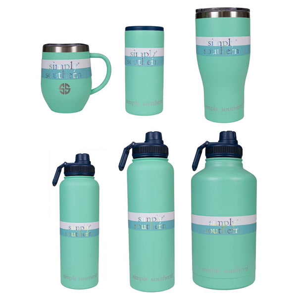 Simply Southern® Sea Green Drinkware- Choice of Drinkware - Can Cooler, Water Bottle, Tumbler