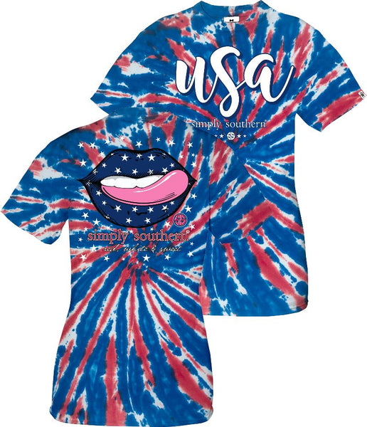 Simply Southern® Short Sleeve Tie Dye USA Lips