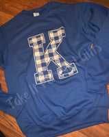 Kentucky Sweatshirt Distressed Plaid K
