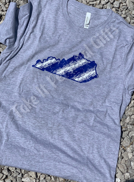 Blue and white Paint streak Kentucky Bella Canvas Tshirt