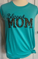 Blessed Mom Leopard Distressed  Bella Canvas T-shirt