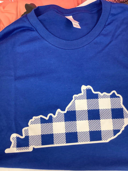 Blue Plaid Kentucky Bella Canvas T-Shirt