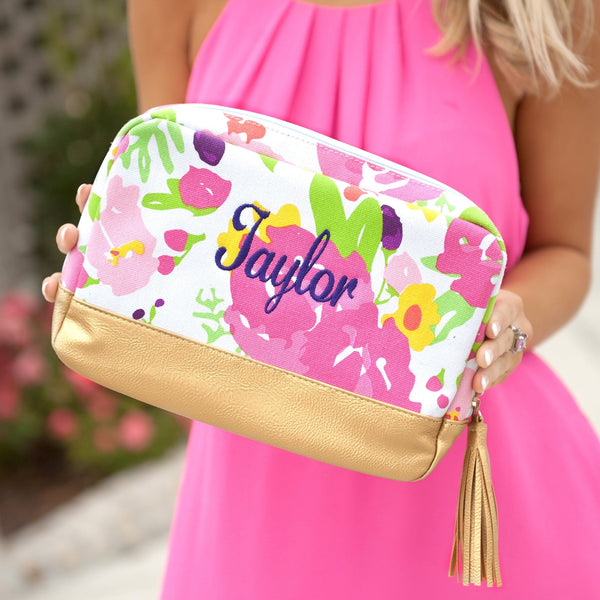 Monogrammed Floral Cosmetic Bag