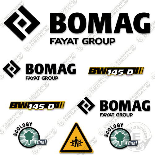 BOMAG BW 100AD-4 VIBRATING ROLLER DECALS STICKERS