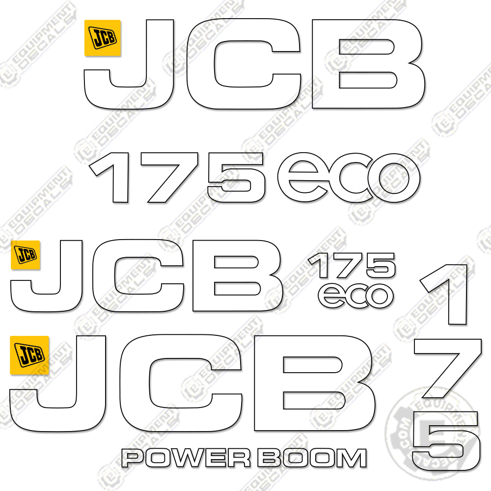 JCB JS130LC Excavator Track Machine FULL DECAL STICKER KIT WITH SAFTEY DECALS