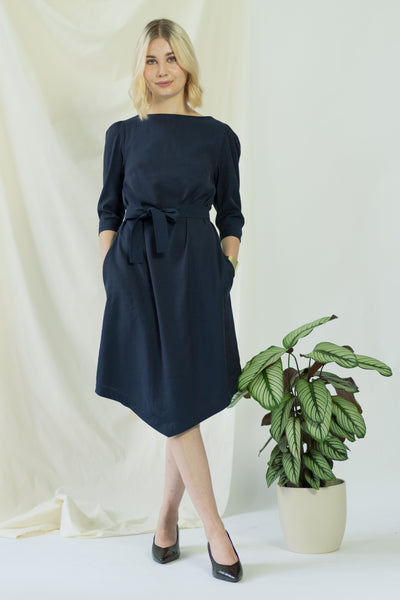 Teresa   Belted angle dress in navy blue