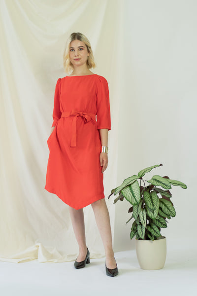 Teresa   Belted angle dress in coral