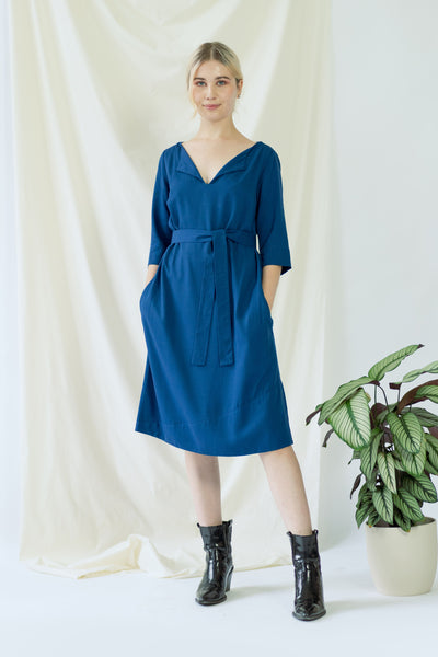 Catherine | Dress in Classic Blue with optional belt