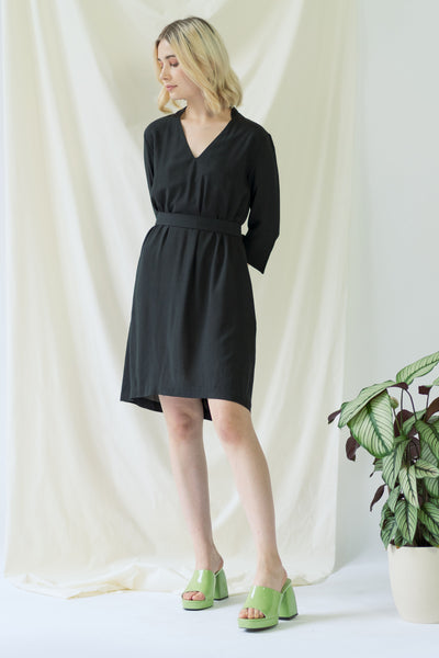 Alexandra | Collared Dress in Black with V neck and optional belt