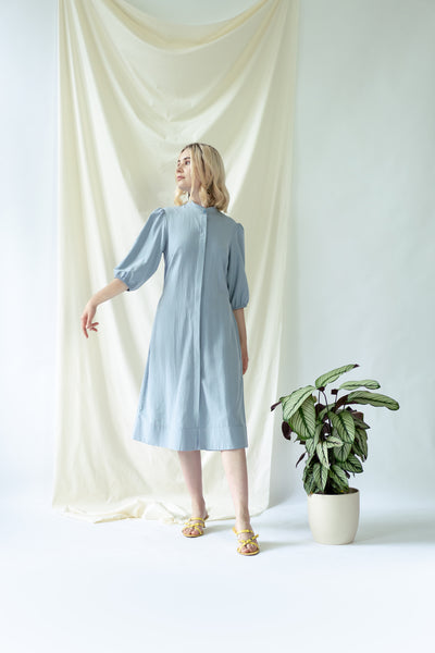Melanie Shirt Dress with balloon sleeves in blue