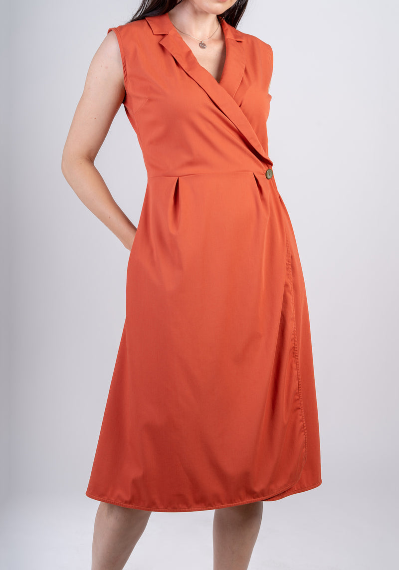 AYANI Sleeveless midi wrap dress work dress
