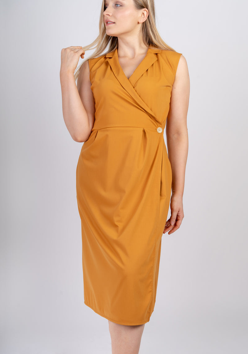 AYANI Sleeveless midi wrap dress in saffron workdress