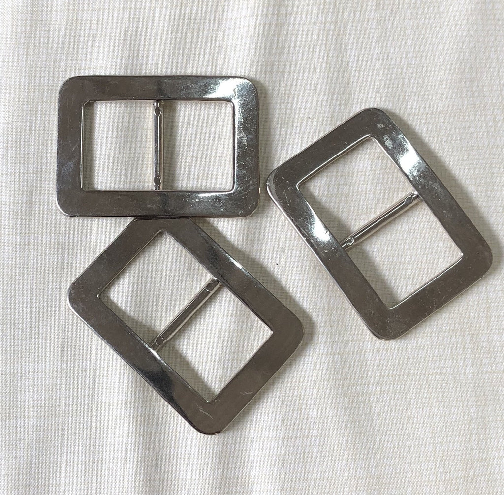 Flat Rimmed Buckle - 30mm - Shiny Silver