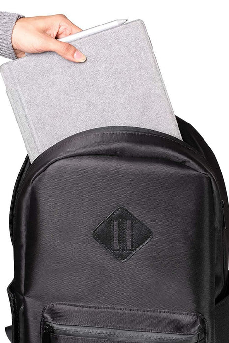 Black Smell Proof Backpack with Lock Front View Open