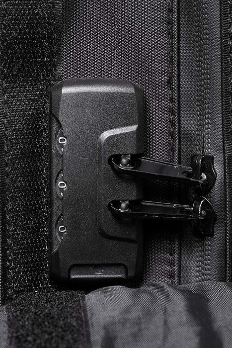 Black Smell Proof Backpack with Lock Zoomed In