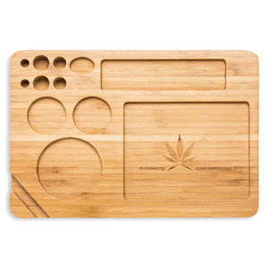 Bamboo Rolling Tray 9 x 6 Inches Cut Outs For Rolling Paper Grinder Pre Rolled Cones And More