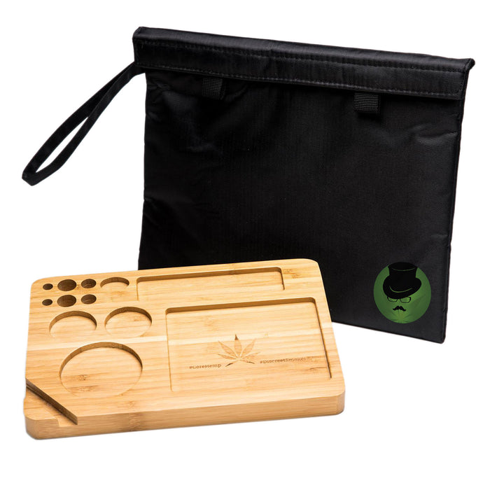 Bamboo Rolling Tray with Smell Proof Velcro Bag Front View Alternative, bamboo rolling tray, natural bamboo tray, raw bamboo rolling tray, raw rolling tray wood, bamboo tray, inexpensive rolling tray, rolling tray for sale, unique rolling trays, blunt rolling tray, blunt tray, cool rolling tray, small rolling tray, weed rolling tray