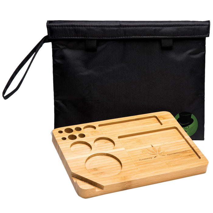 Bamboo Rolling Tray with Smell Proof Velcro Bag, bamboo rolling tray, natural bamboo tray, raw bamboo rolling tray, raw rolling tray wood, bamboo tray, inexpensive rolling tray, rolling tray for sale, unique rolling trays, blunt rolling tray, blunt tray, cool rolling tray, small rolling tray, weed rolling tray