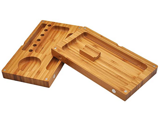 Wood Backflip Magnetic Rolling Tray - Open View, bamboo rolling tray, natural bamboo tray, raw bamboo rolling tray, raw rolling tray wood, bamboo tray, inexpensive rolling tray, rolling tray for sale, unique rolling trays, blunt rolling tray, blunt tray, cool rolling tray, small rolling tray, weed rolling tray