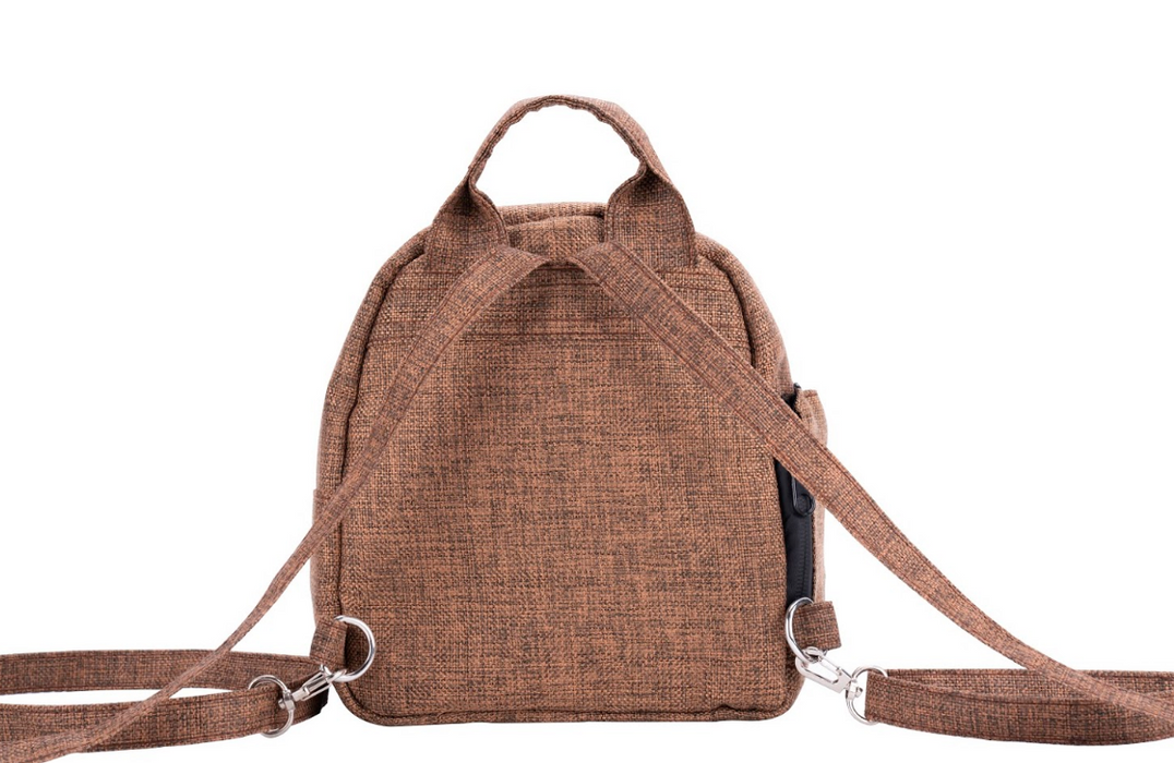 Brown Smell Proof Hemp Mini Backpack With Secret Lock - Back View