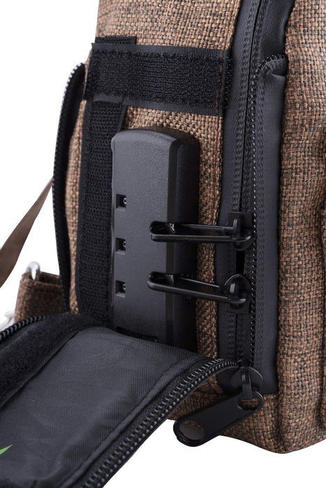 Brown Smell Proof Hemp Mini Backpack With Secret Lock - Zoomed in on Lock