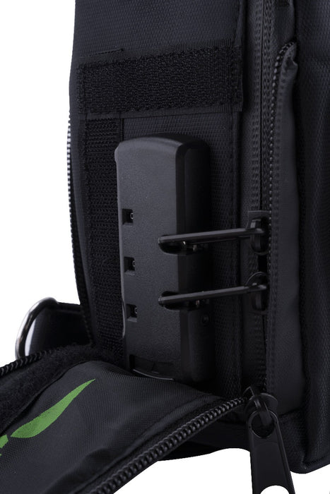 Black Smell Proof Mini Backpack With Secret Lock - Zoomed in On Lock