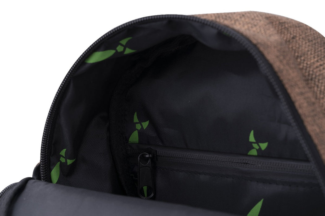 Brown Smell Proof Hemp Mini Backpack With Secret Lock - Inside Zoomed In
