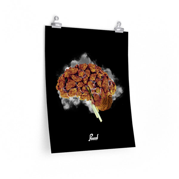 Brain On Nuggs Black Poster Print- Black