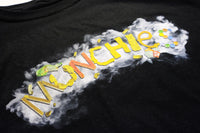 MUNCHIES T-Shirt from our Top Shelf Collection features a full colour print of  our MUNCHIES design on the front chest. MUNCHIES is available in Sky Blue for the wake and bake, and in Black for the those late night trips to the corner store.  100% Preshrunk Ringspun cotton .Tag-less hand-printed Peace Pipe branding on the inside collar for added comfort . Designed and Printed in Toronto, Canada. Limited Quantity.