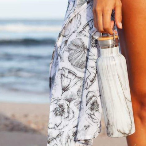 Stainless Water Bottle - White Marble