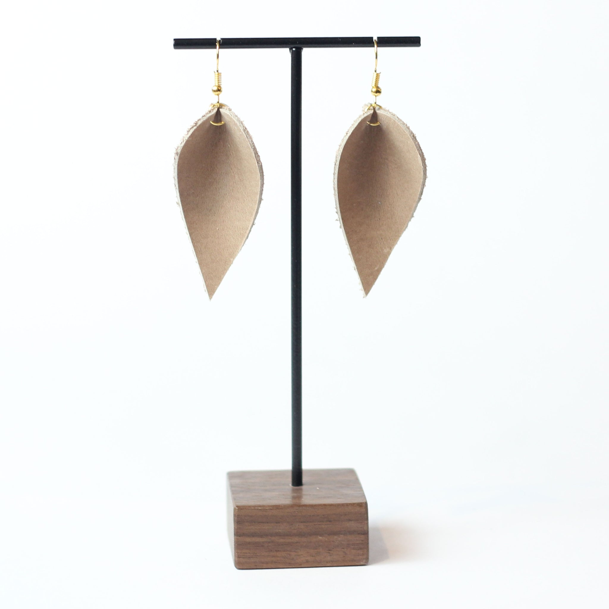 Leather Leaf Earring - Blush