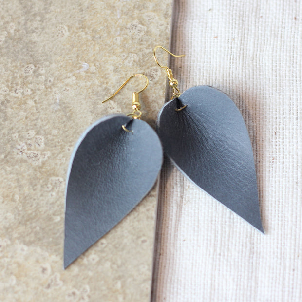 Leather Leaf Earring - Gray 1