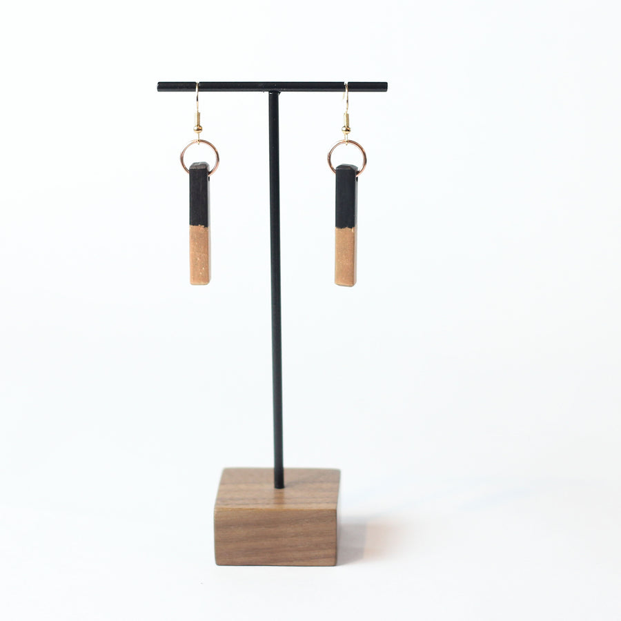 Blush and Ebony Wood Bead Earring