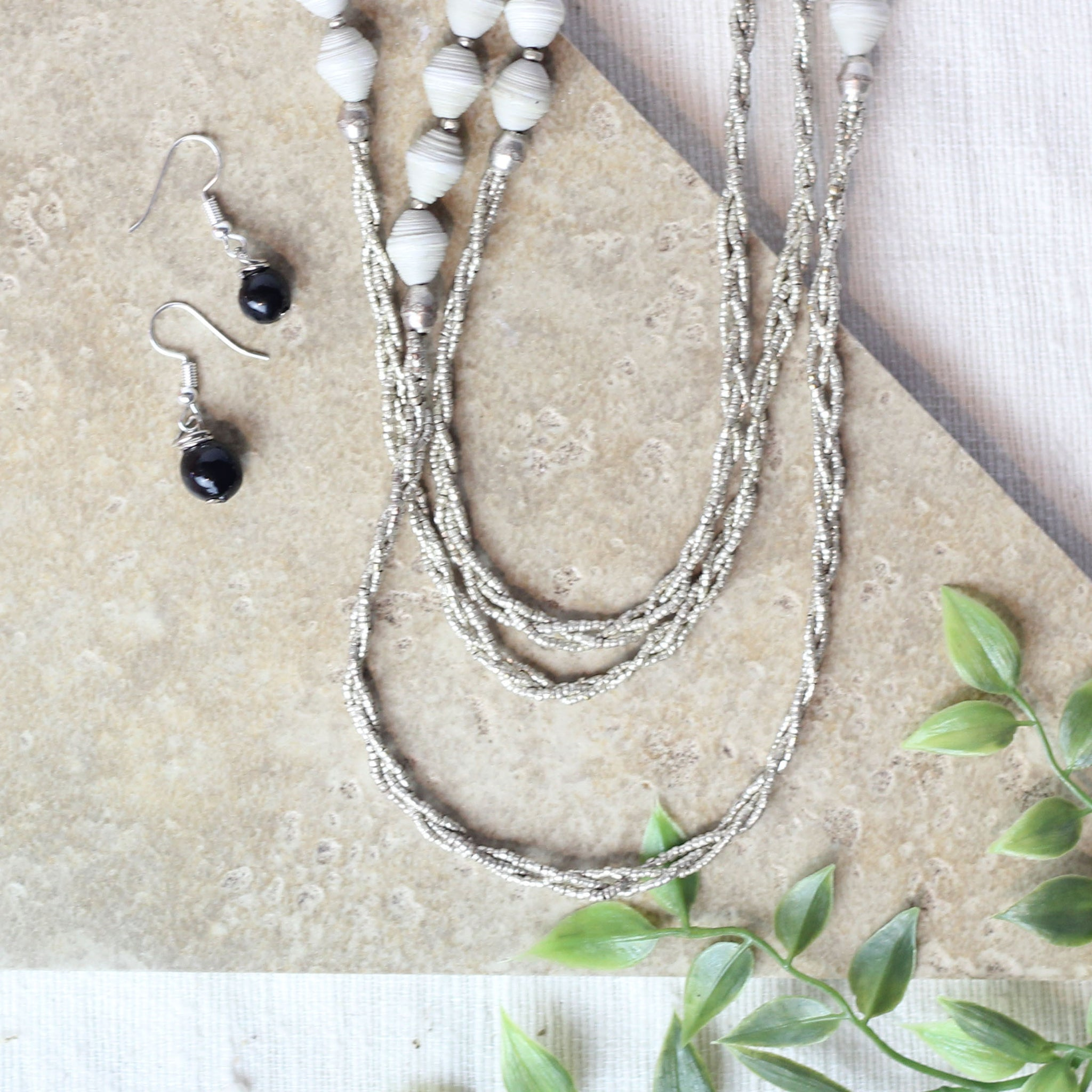 Paper Triple Strand Necklace