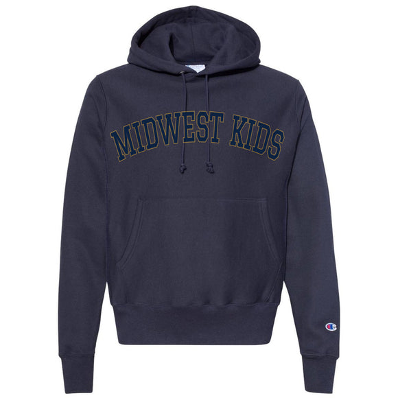 MIDWEST KIDS RW STTCHED HOODED SWEATSHIRT (NAVY/GOLD)