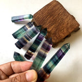 Natural Fluorite Crystal Colorful Striped Fluorite 4-7CM Quartz Crystal Stone Point Healing Hexagonal Wand Treatment Stone