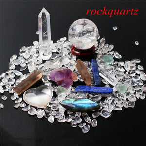1 Rock Quartz Set Includes: Obelisk, Sphere, Wand, Heart, Gravel