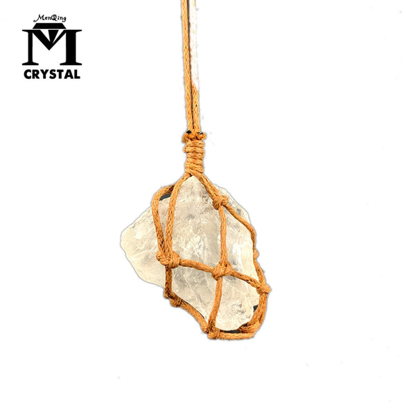 Raw Crystal Irregular White Quartz Pendant Necklace