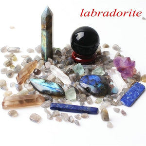 1 Labradorite Set Includes: Obelisk, Sphere, Wand, Heart, Gravel