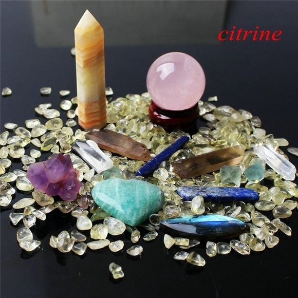 1 Citrine Set Includes: Obelisk, Sphere, Wand, Heart, Gravel