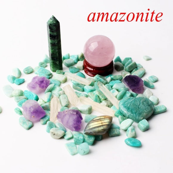 1 Amazonite Set Includes: Obelisk, Sphere, Wand, Heart, Gravel