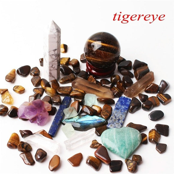 1 Tiger Eye Set Includes: Obelisk, Sphere, Wand, Heart, Gravel
