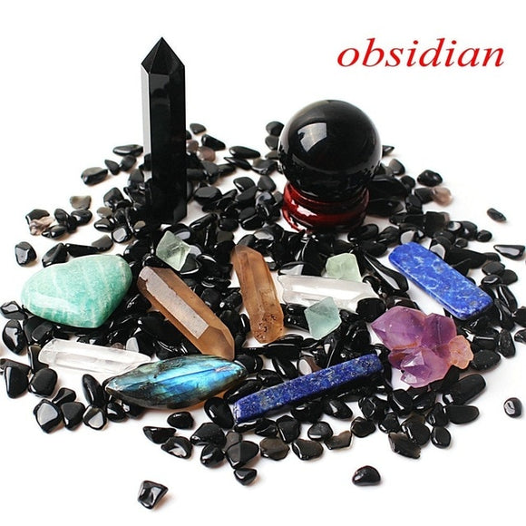 1 Obsidian Set Includes: Obelisk, Sphere, Wand, Heart, Gravel